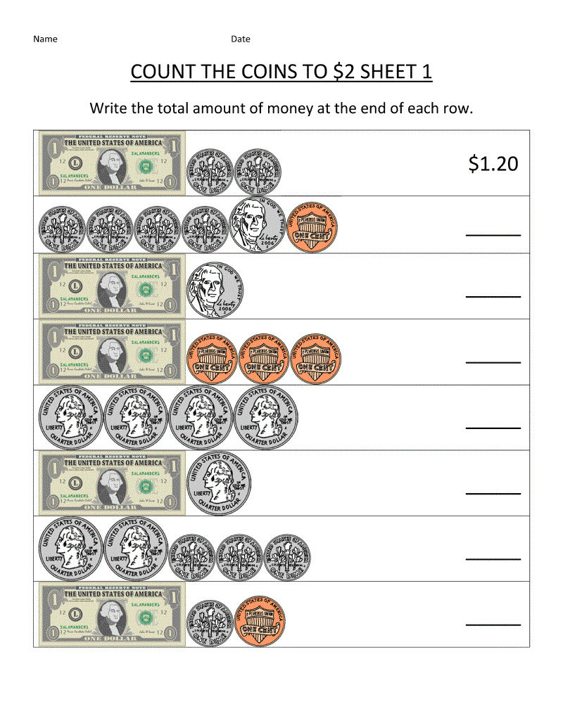 Coin Worksheets First Grade 3 Free Math Worksheets First Grade 1 Counting Money Counting