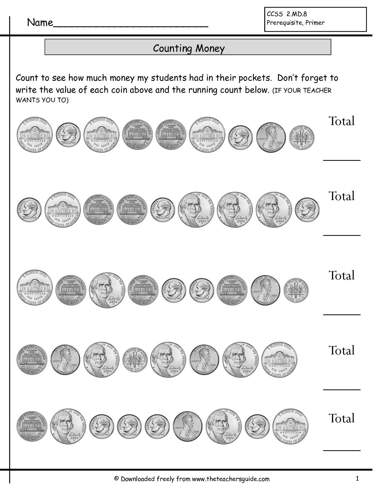 Coin Worksheets First Grade Counting Coins Worksheets From the Teacher S Guide