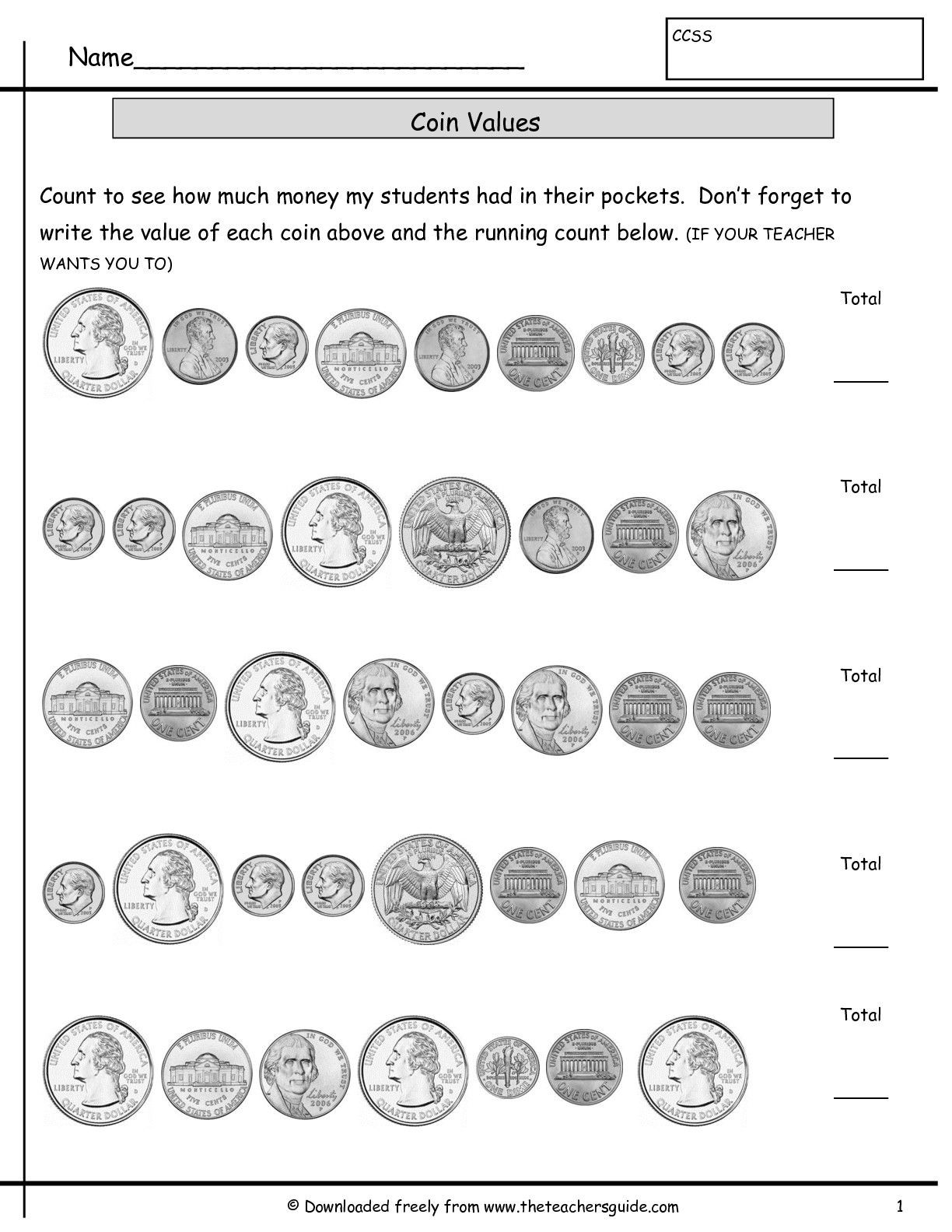 Coin Worksheets First Grade Counting Coins Worksheets