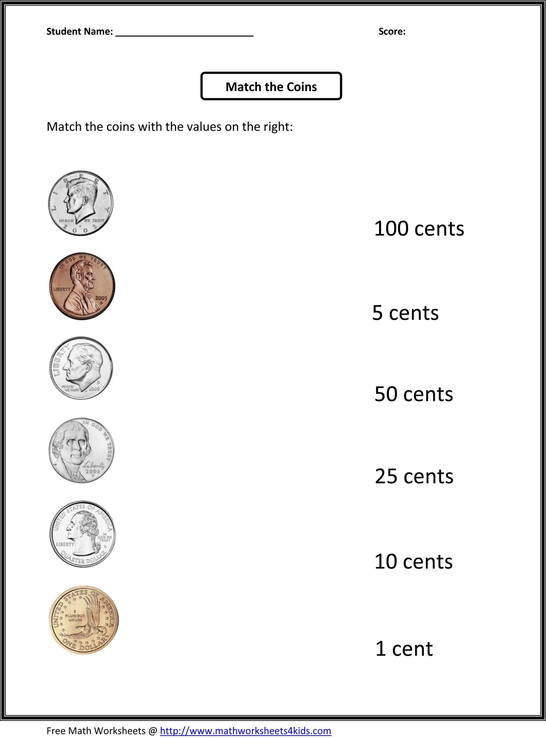 Coin Worksheets for 2nd Grade Math Worksheet Coin Value Worksheet 1ste Printable