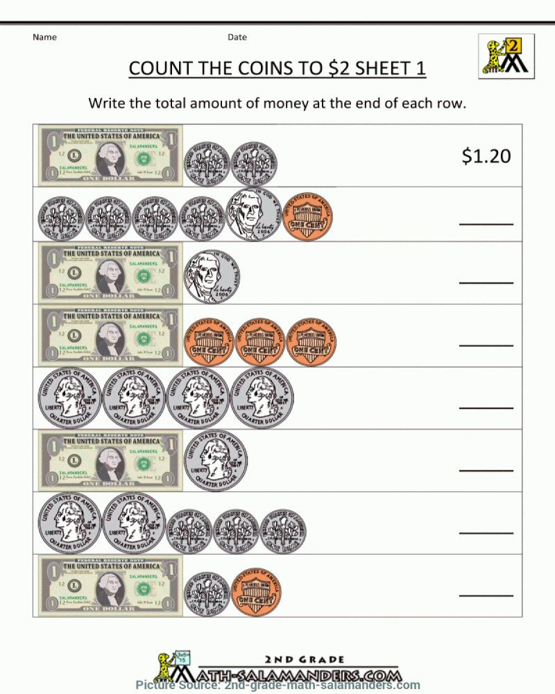 Coin Worksheets for 2nd Grade Money Math Worksheets 2nd Grade