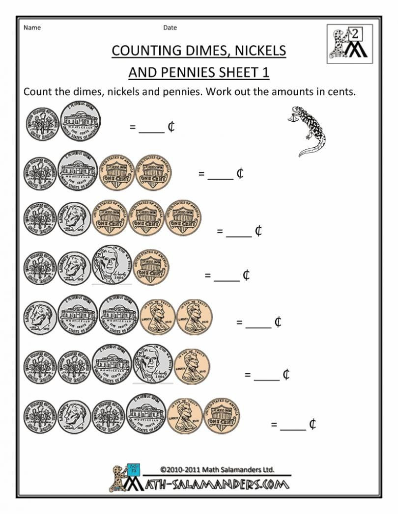 Coin Worksheets for 2nd Grade Money Worksheets for Second Grade