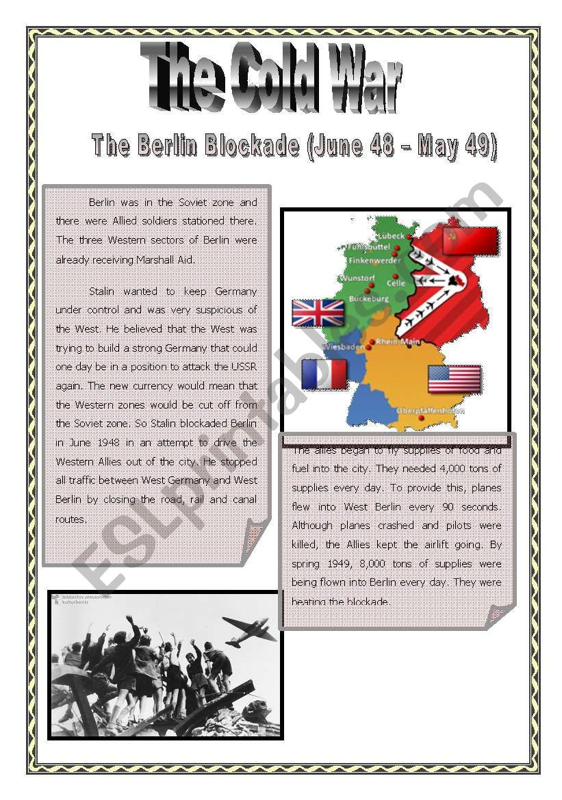 Cold War Reading Comprehension Worksheet Cold War Epidodes 1 Berlin Blockade Esl Worksheet by