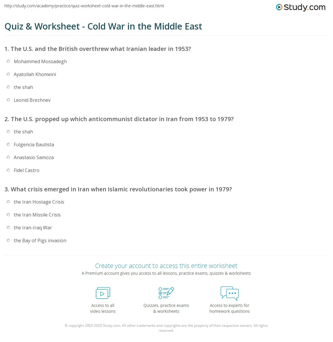 Cold War Reading Comprehension Worksheet Quiz & Worksheet Cold War In the Middle East