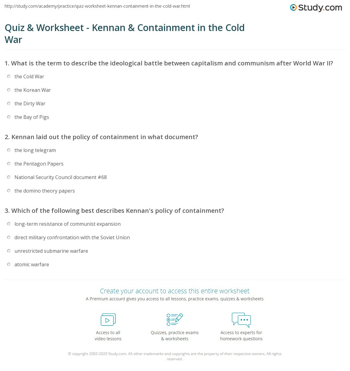 Cold War Reading Comprehension Worksheet Quiz & Worksheet Kennan & Containment In the Cold War
