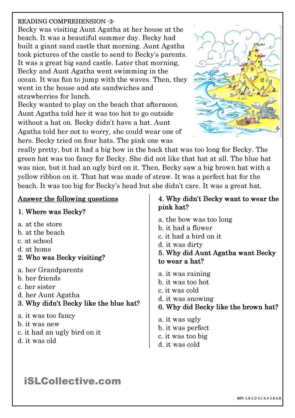Cold War Reading Comprehension Worksheet Reading Prehension for Beginner and Elementary Students 3