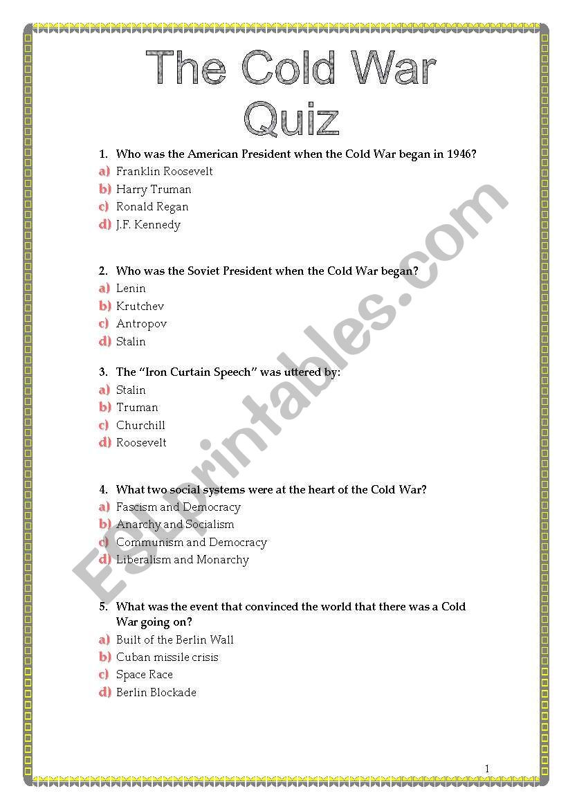 Cold War Reading Comprehension Worksheet the Cold War Quiz Esl Worksheet by Sviviana