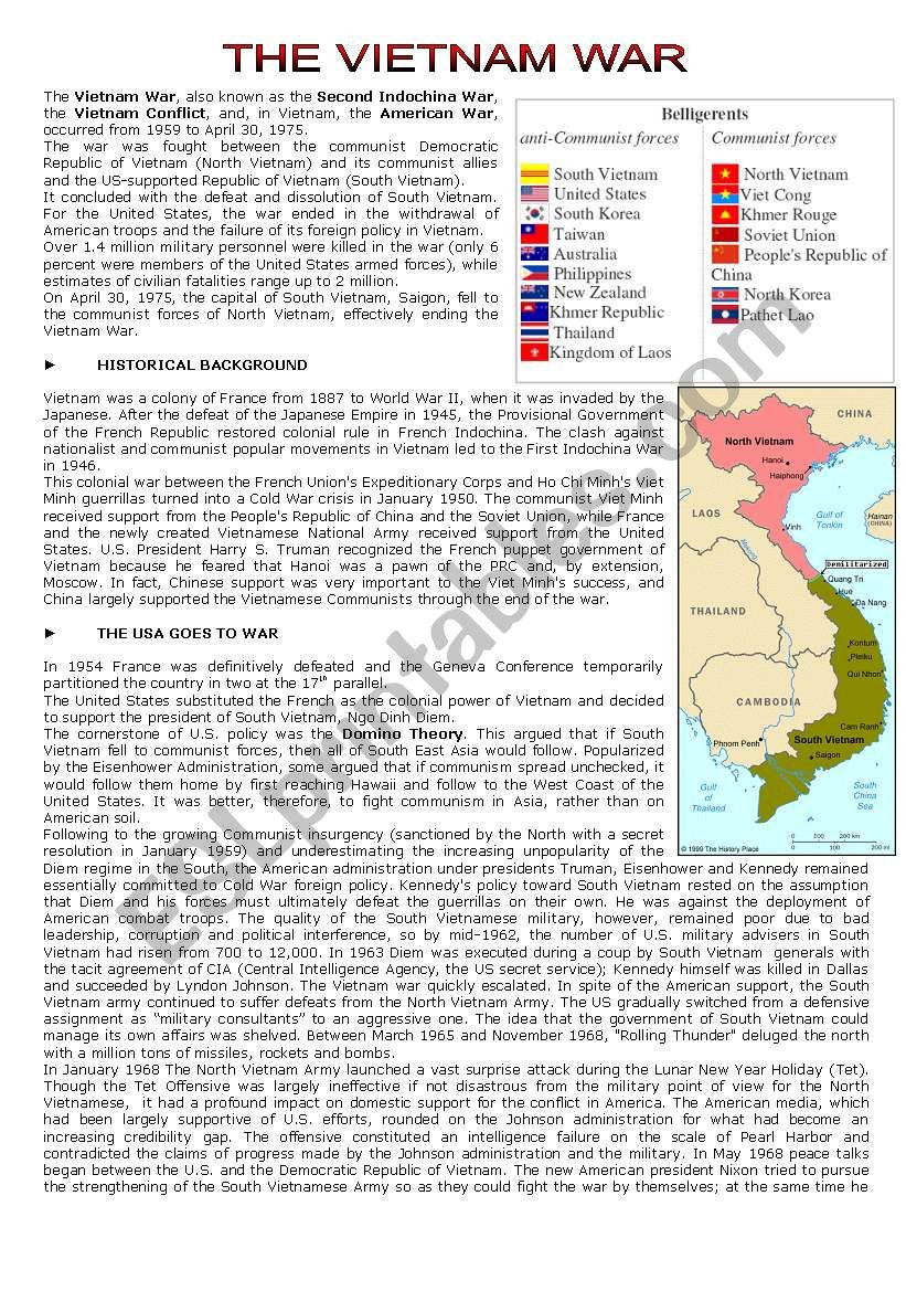 Cold War Reading Comprehension Worksheet the Vietnam War Reading Prehension Esl Worksheet by Cerix64