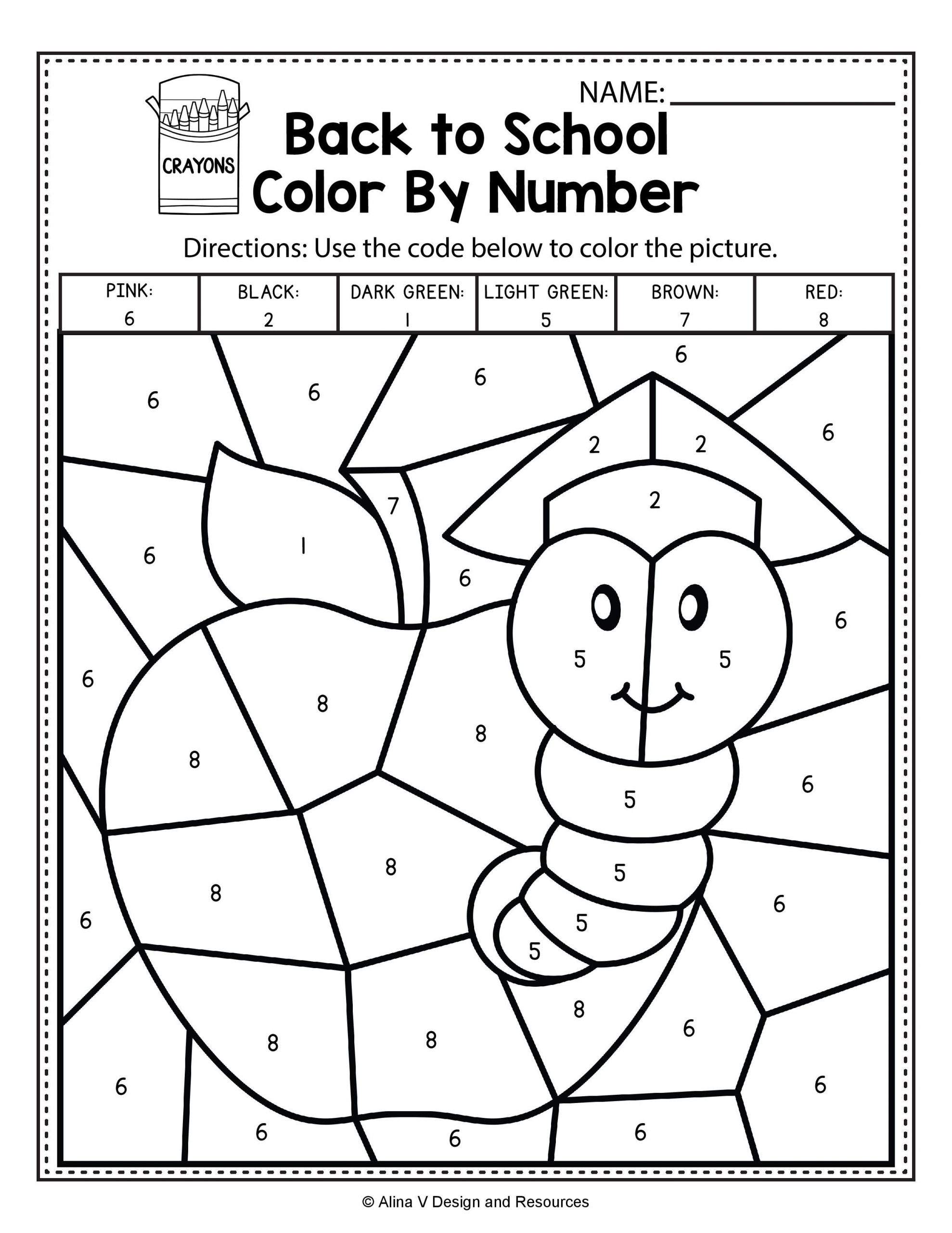 Color by Number Math Worksheets Back to School Color by Number Math Worksheets and