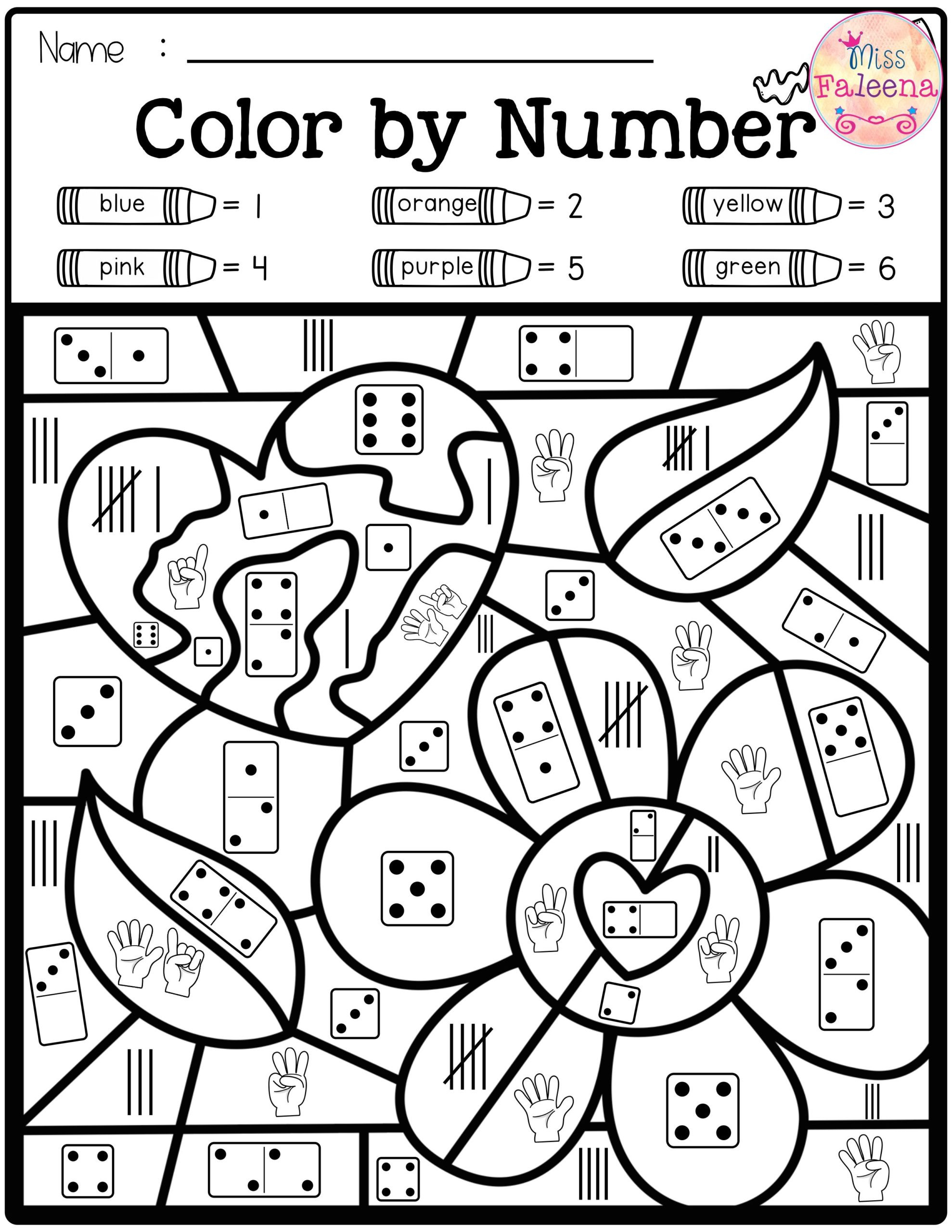 Color by Number Math Worksheets Best Color by Number In Numbers Maths Worksheets for
