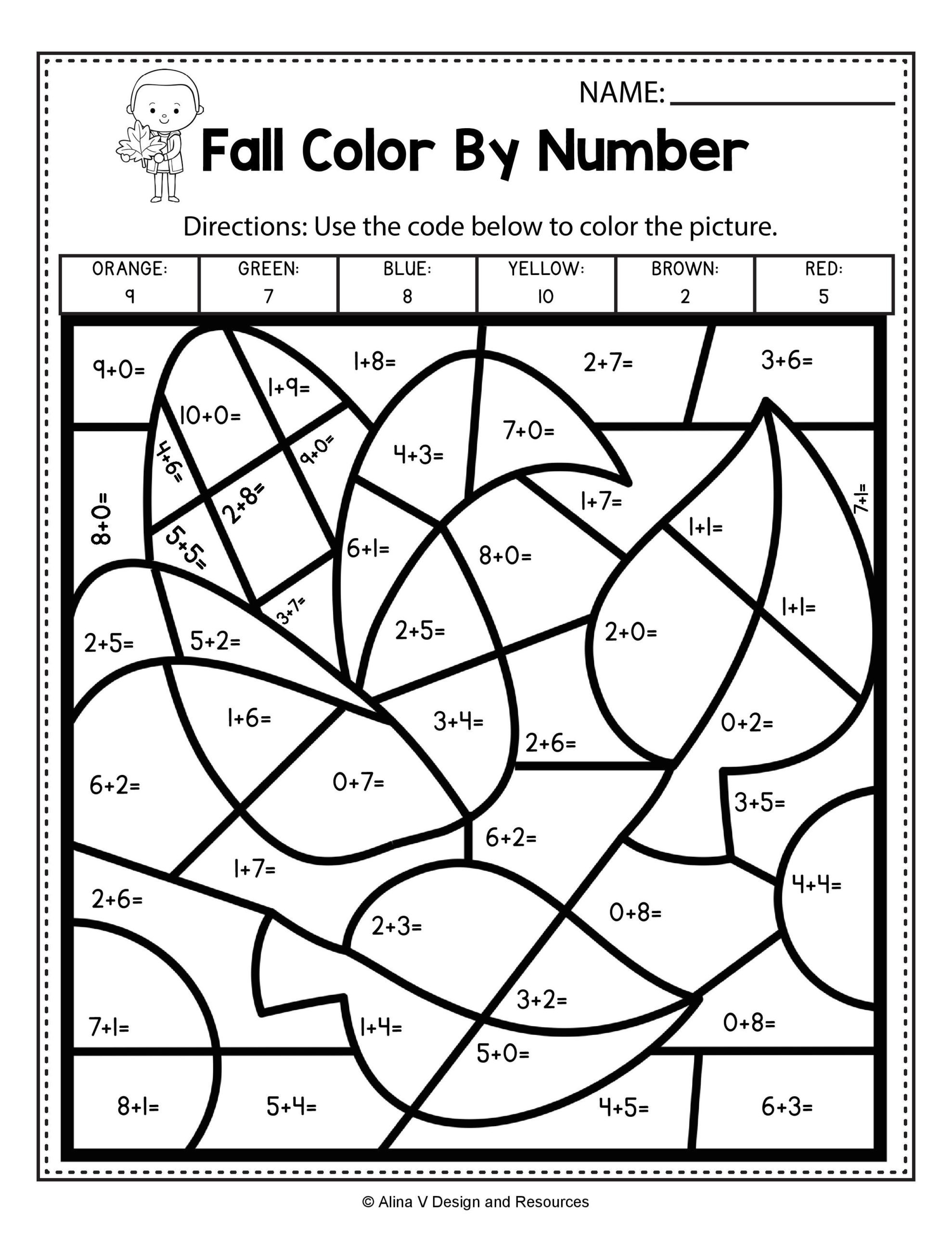 Color by Number Math Worksheets Math Worksheet Simple Addition Color by Number Fall Math