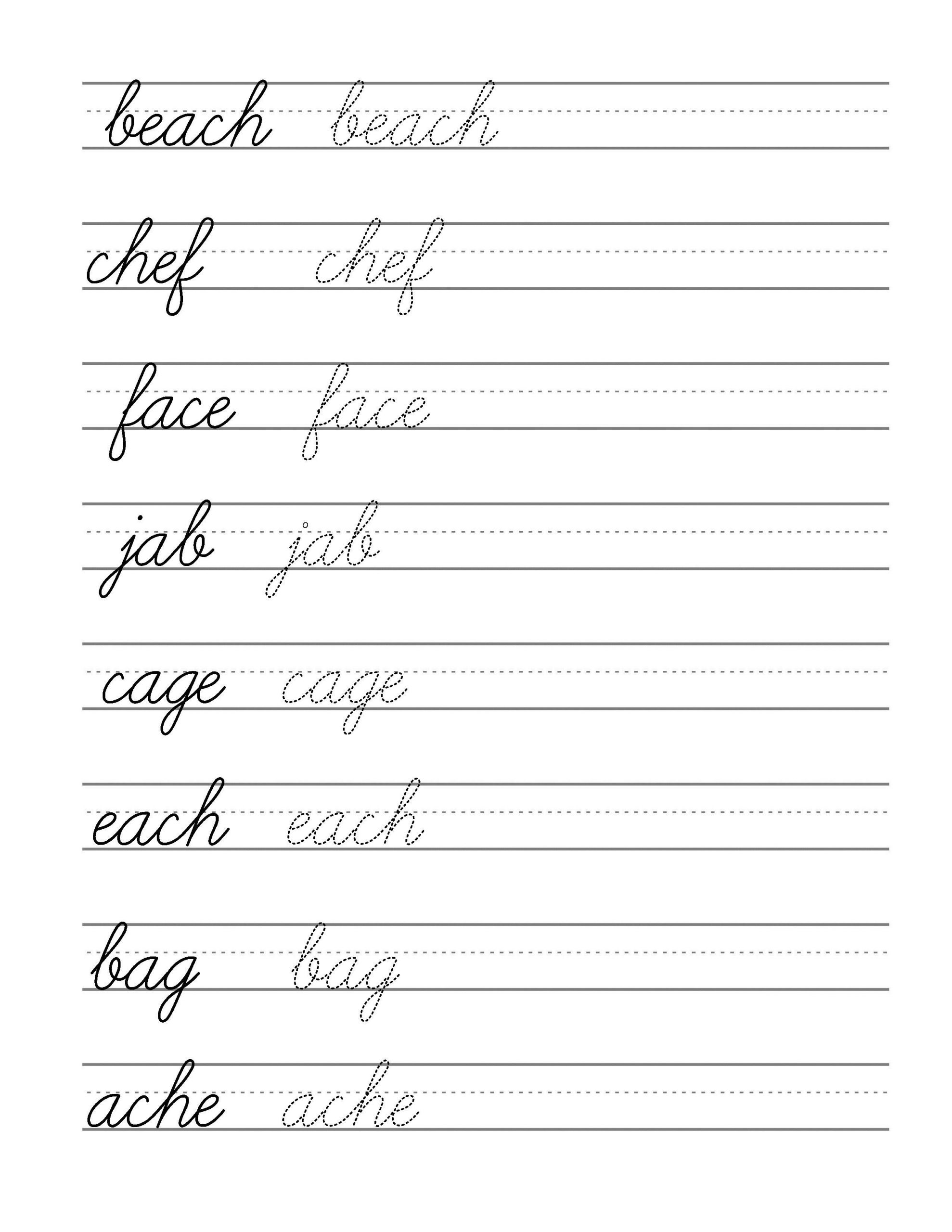 Color Words Handwriting Worksheets Free Beginning Cursive Writing Template Part 3