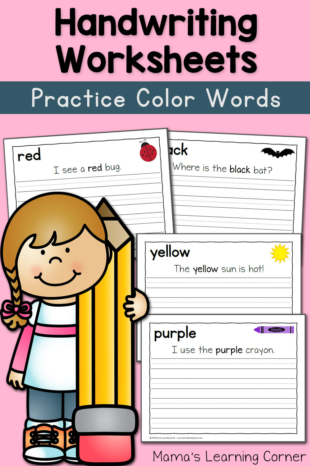 Color Words Handwriting Worksheets Handwriting Worksheets for Kids Color Words Mamas