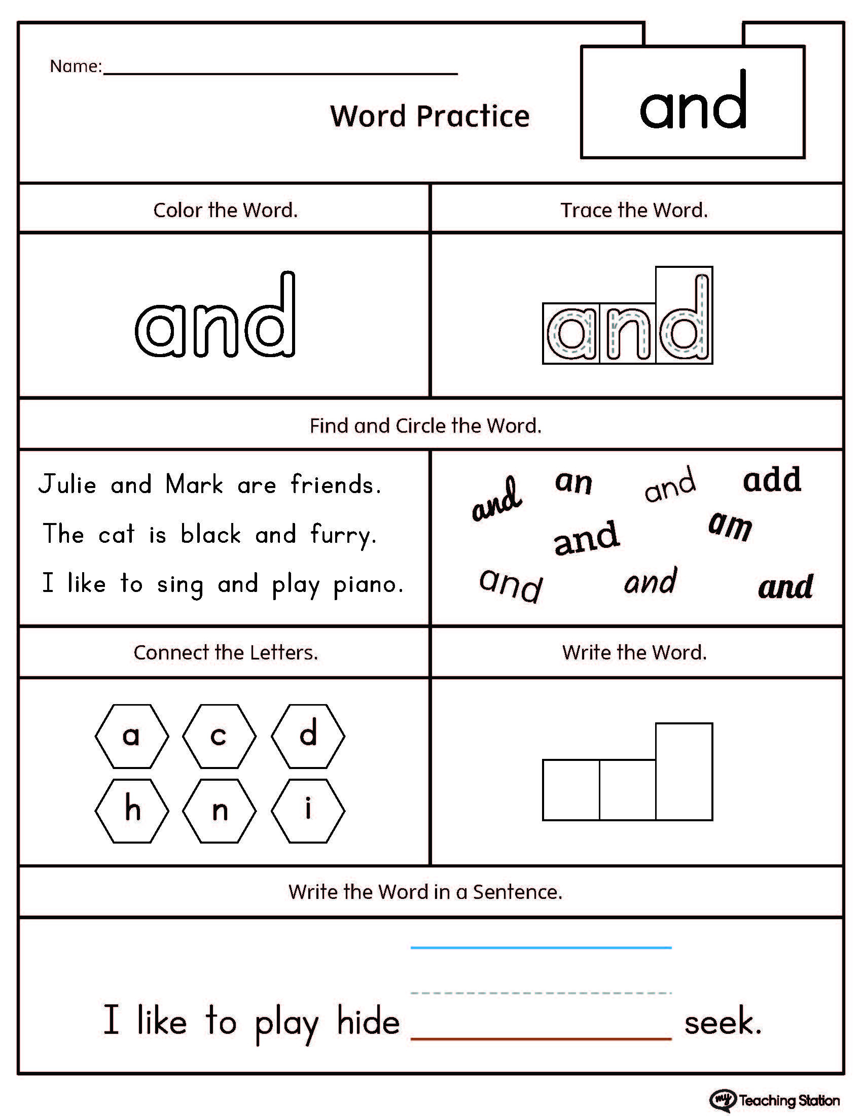 Color Words Handwriting Worksheets High Frequency Word and Printable Worksheet