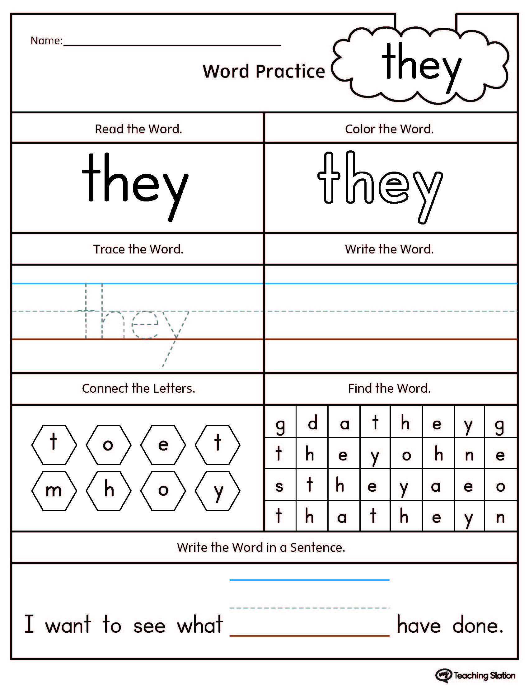 Color Words Handwriting Worksheets Kindergarten High Frequency Words Printable Worksheets