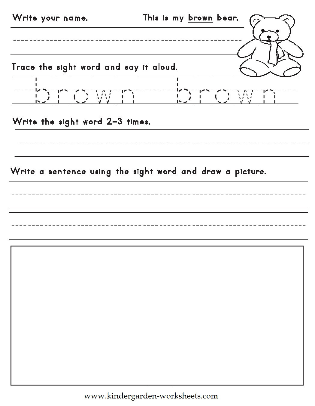 Color Words Handwriting Worksheets Kindergarten Worksheets Color Words Worksheets Brown