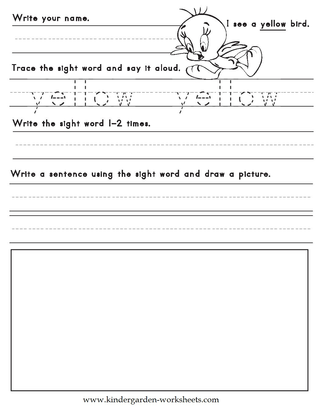 Color Words Handwriting Worksheets Kindergarten Worksheets Color Words Worksheets Yellow