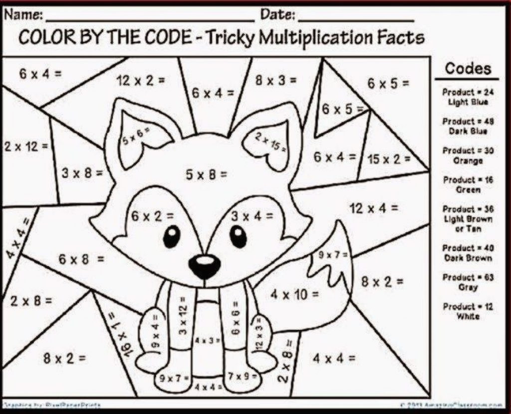 Fun Multiplication Coloring By Number Worksheetntable