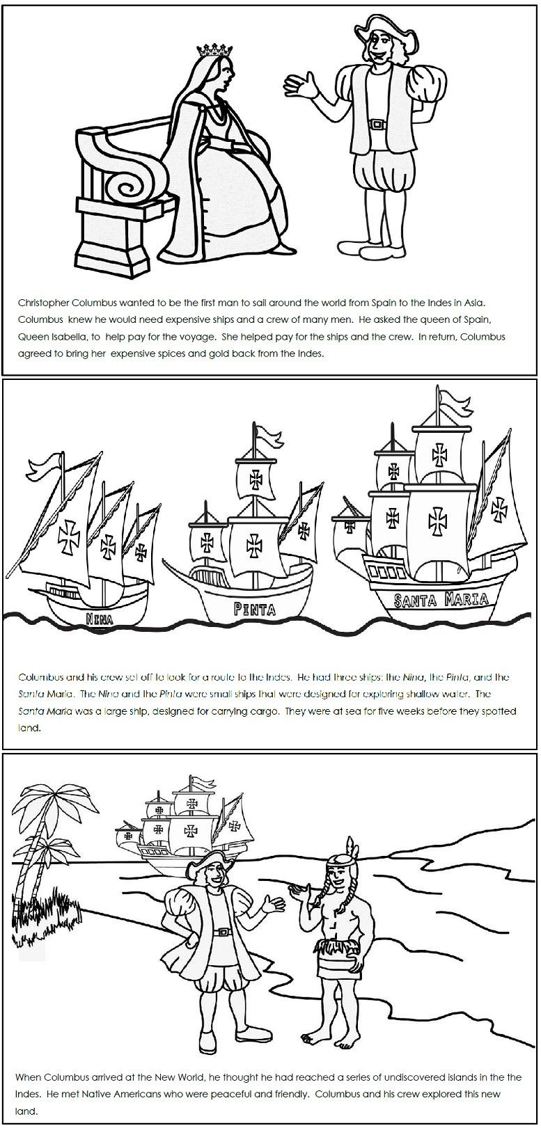 Columbus Day Reading Comprehension Worksheets Check Out This Columbus Read and Color Book