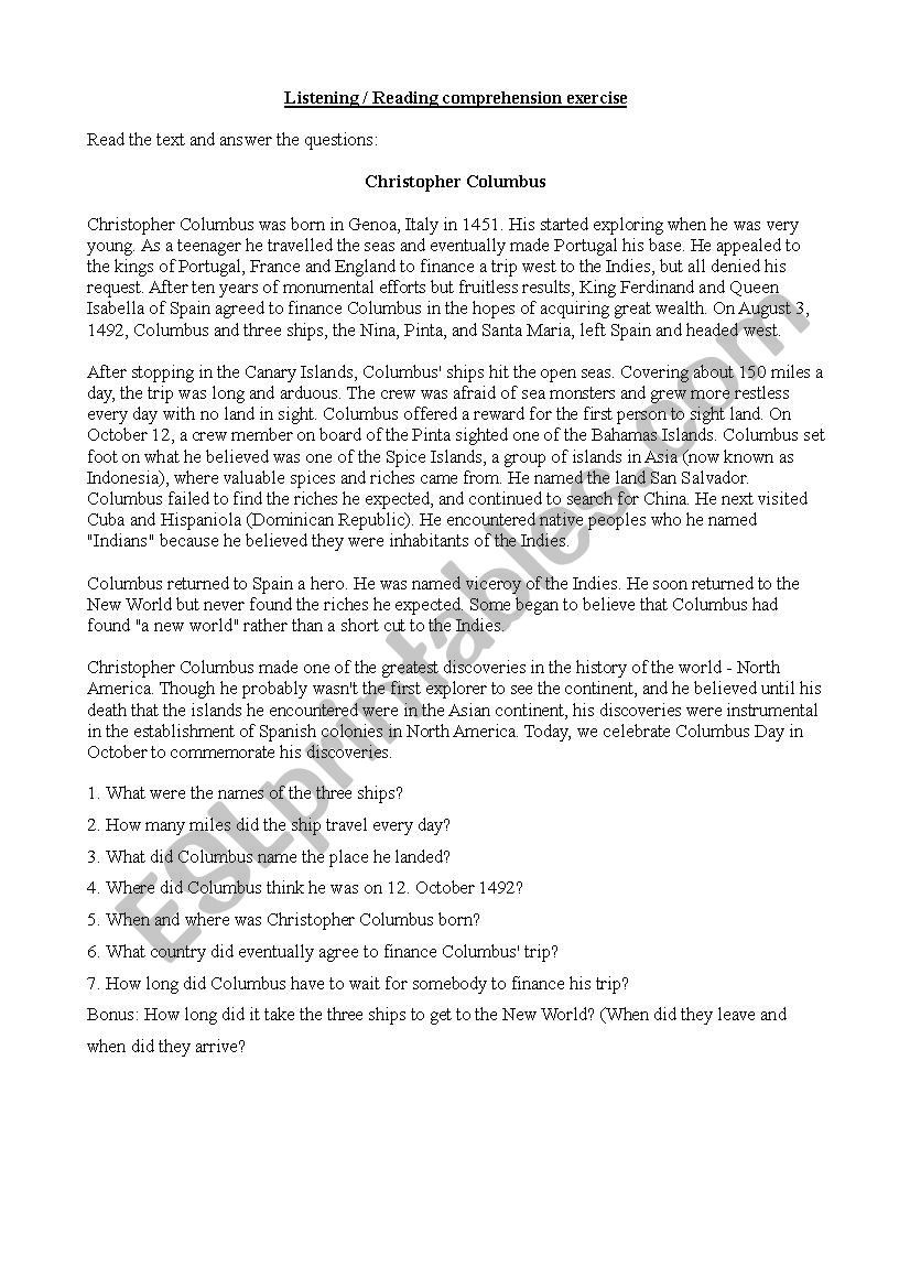 Columbus Day Reading Comprehension Worksheets Christopher Columbus Esl Worksheet by Casparbl