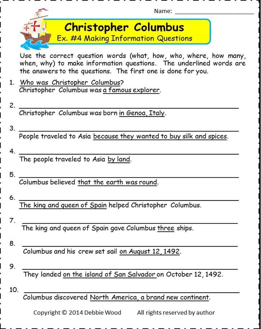Columbus Day Reading Comprehension Worksheets Christopher Columbus