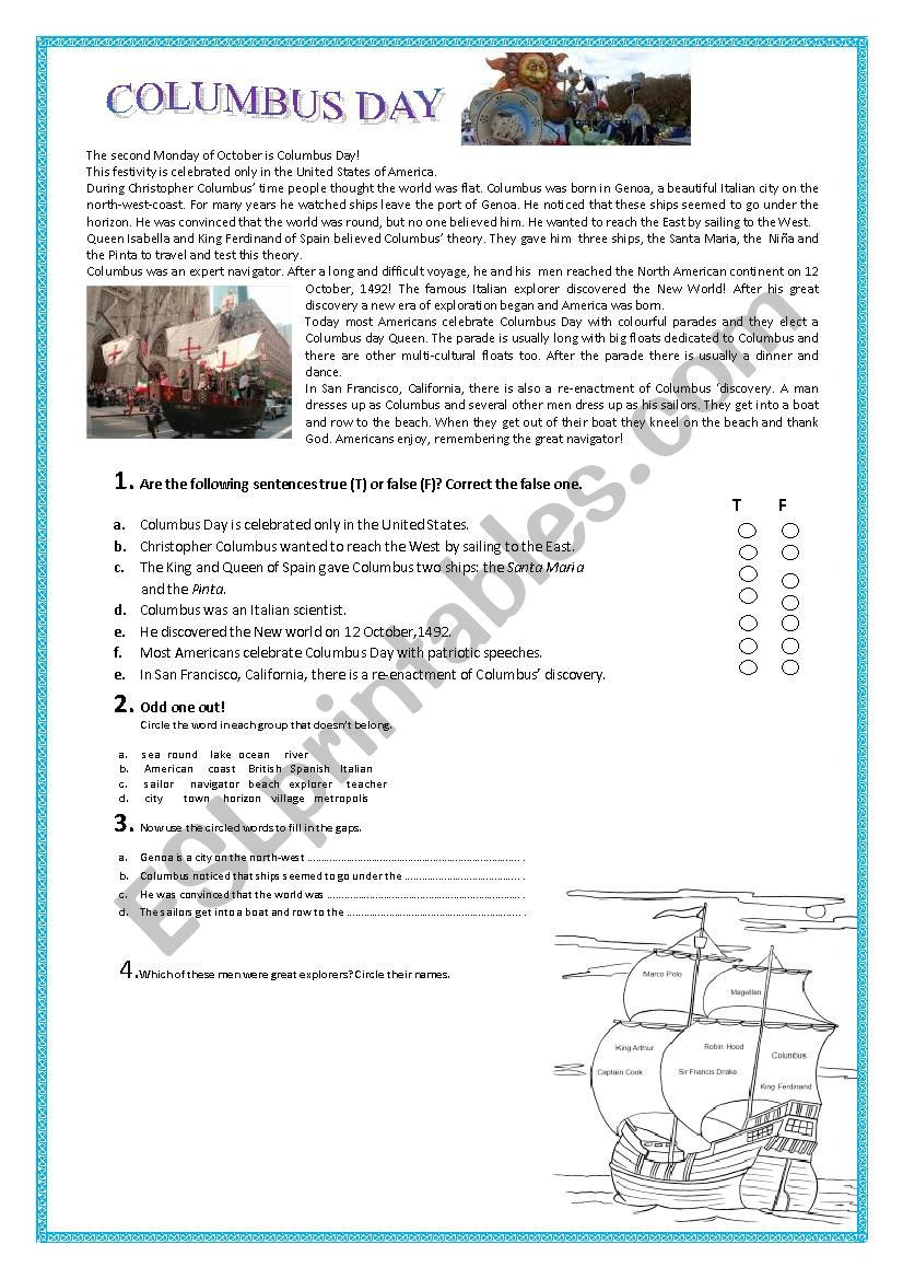 Columbus Day Reading Comprehension Worksheets Columbus Day Esl Worksheet by Pallino