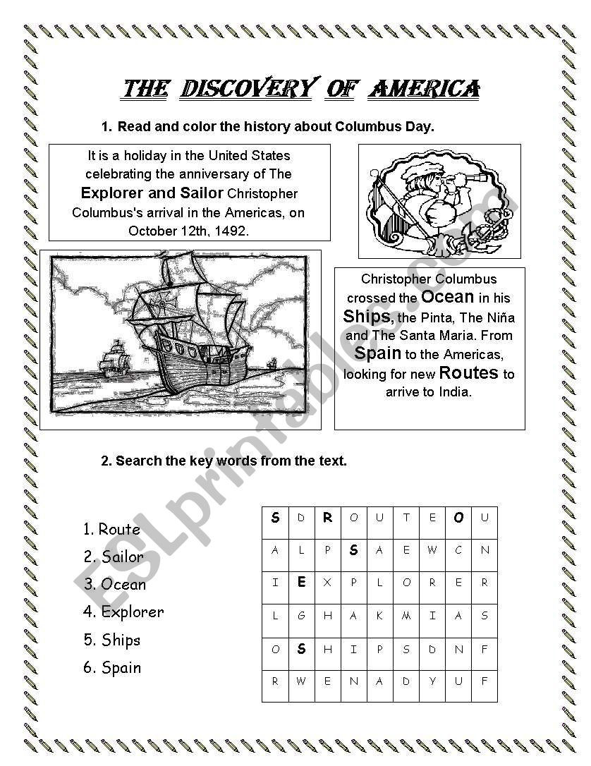 Columbus Day Reading Comprehension Worksheets the Discovery Of America Esl Worksheet by Lperecita
