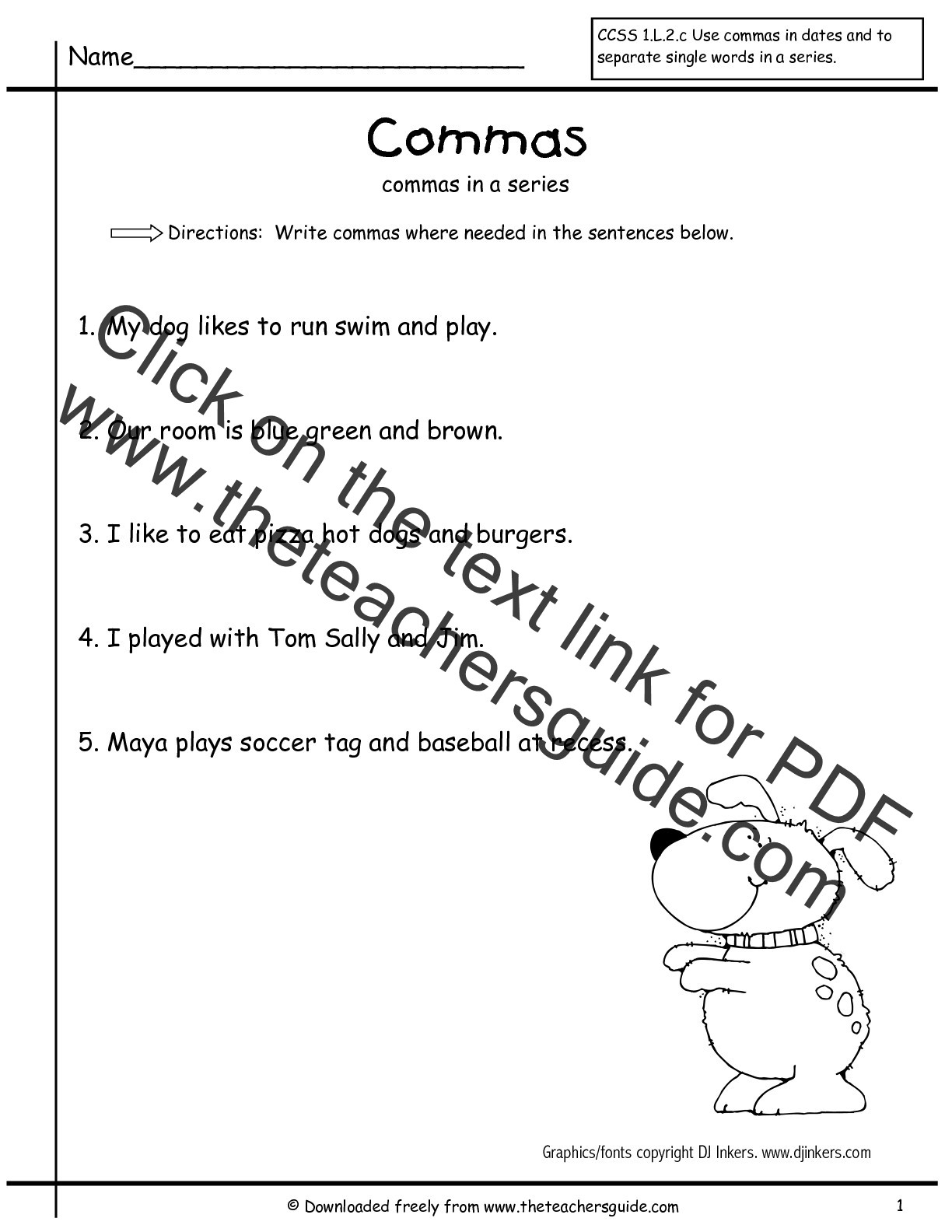 Comma Worksheets 2nd Grade Ma Worksheets 2nd Grade