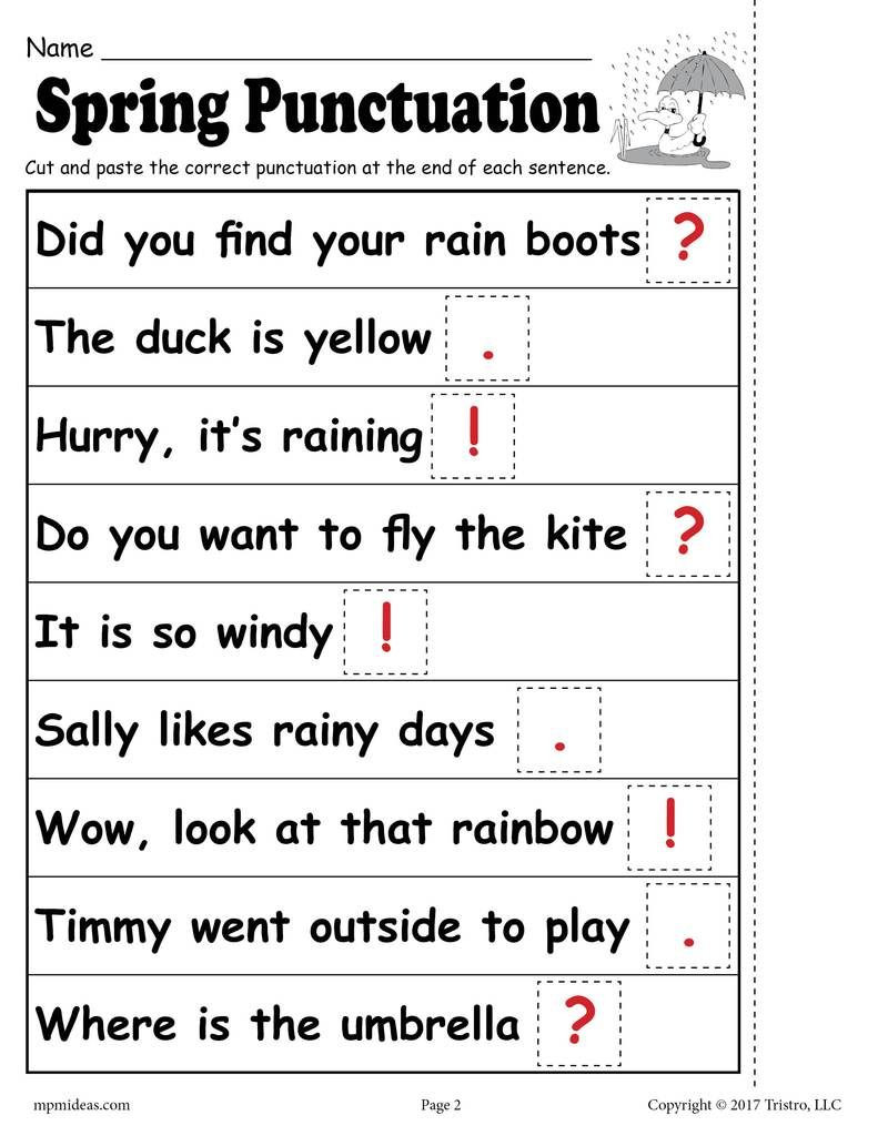 Comma Worksheets 2nd Grade Printable Spring Punctuation Worksheet Worksheets Free Ma