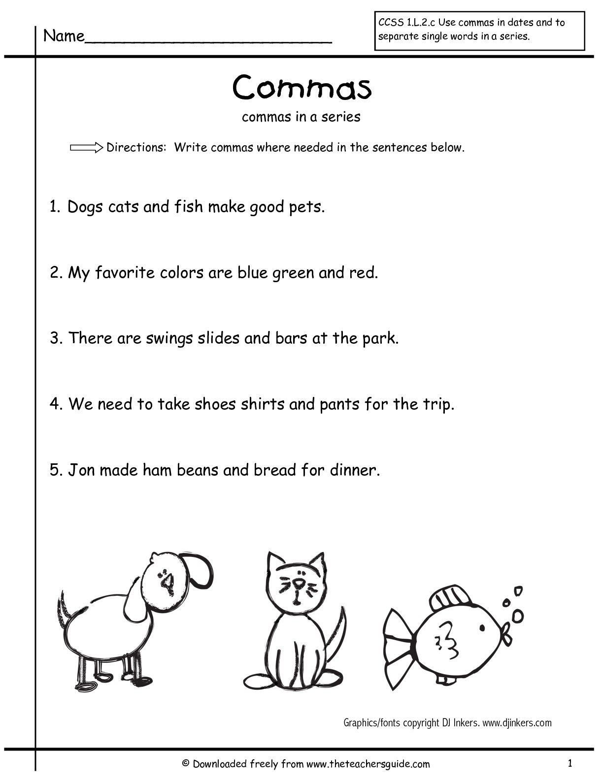 Comma Worksheets Middle School Grammar Worksheets Mas In A Series First Grade Free