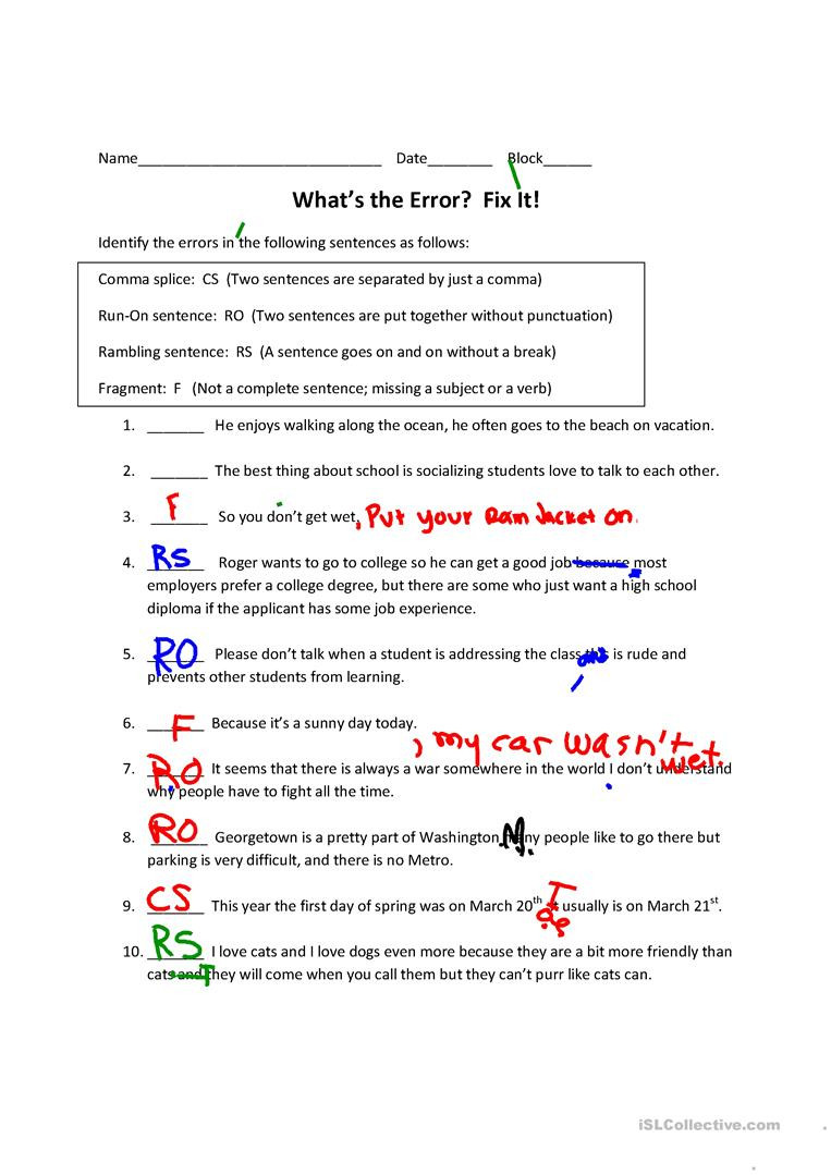 Comma Worksheets Middle School Run On Sentences Ma Splices Rambling Sentences and
