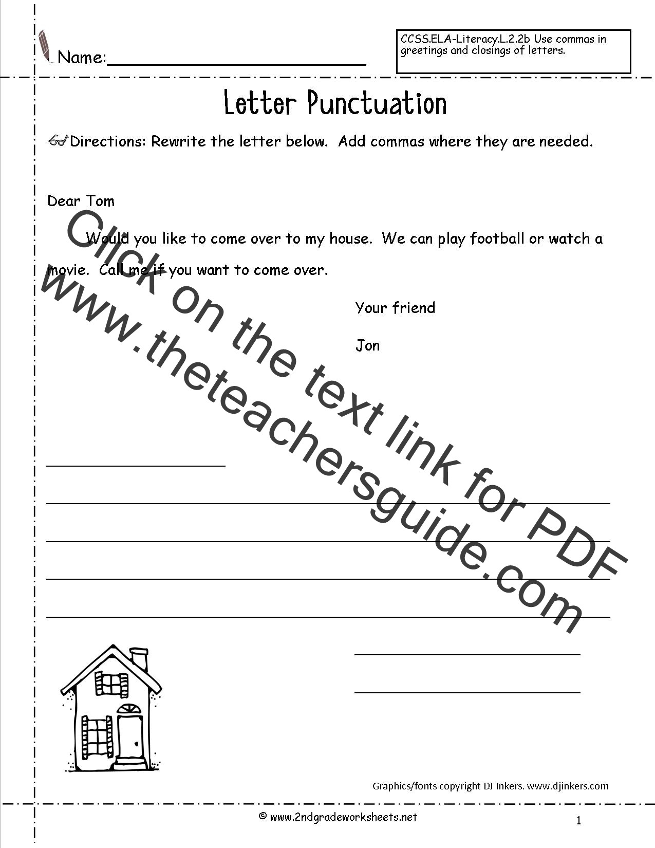 Comma Worksheets Middle School Writing Punctuation Worksheet