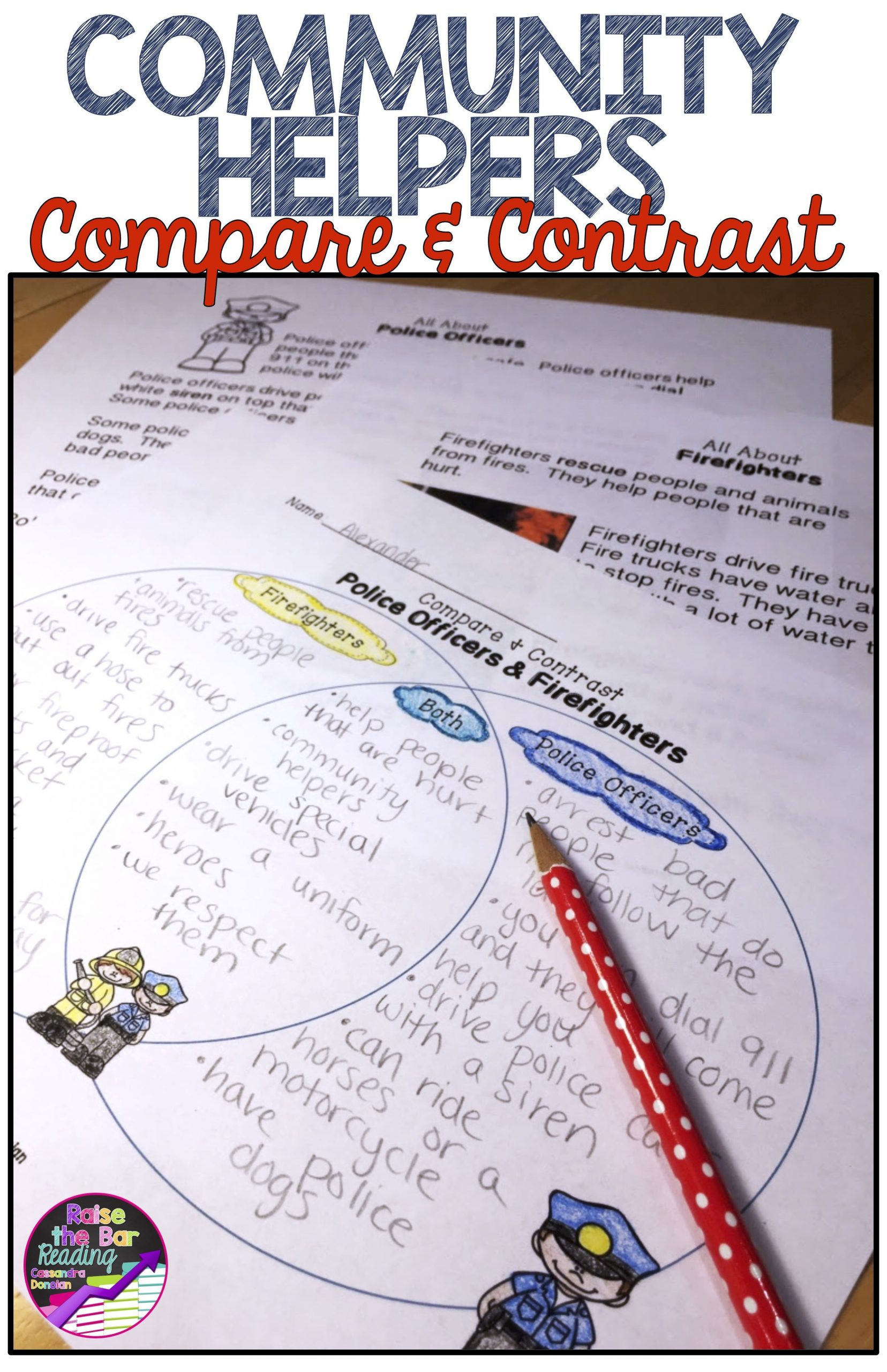 Compare and Contrast Reading Worksheets Munity Helpers Reading Passages Pare and Contrast