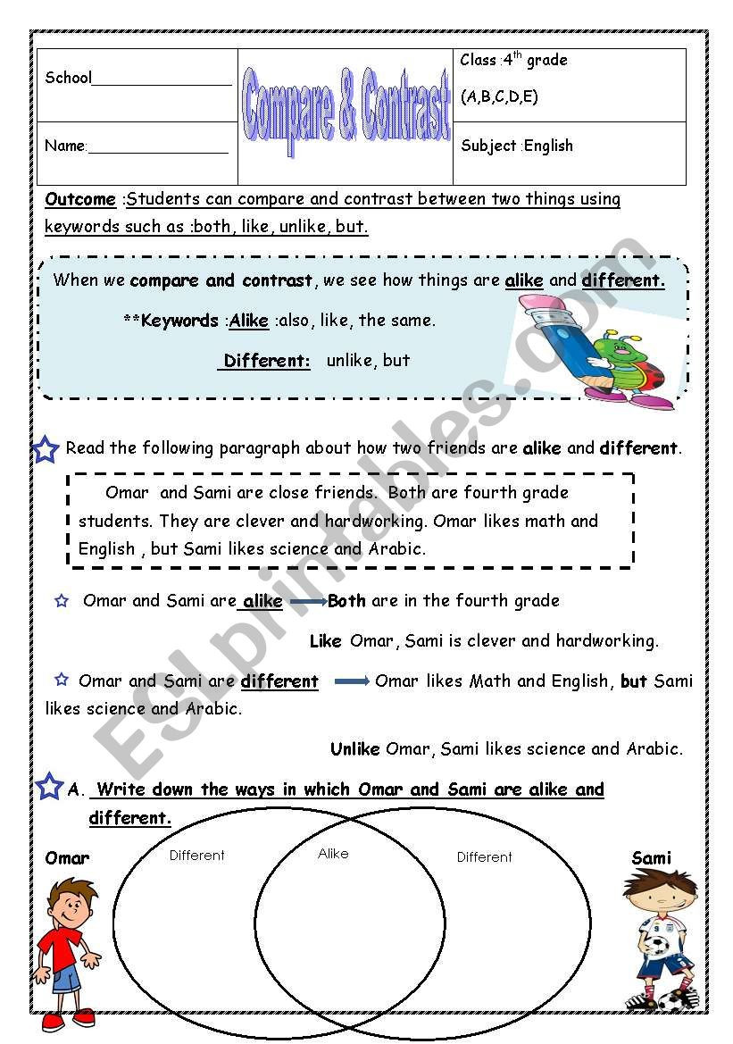 Compare and Contrast Reading Worksheets Pare & Contrast Esl Worksheet by Manar K
