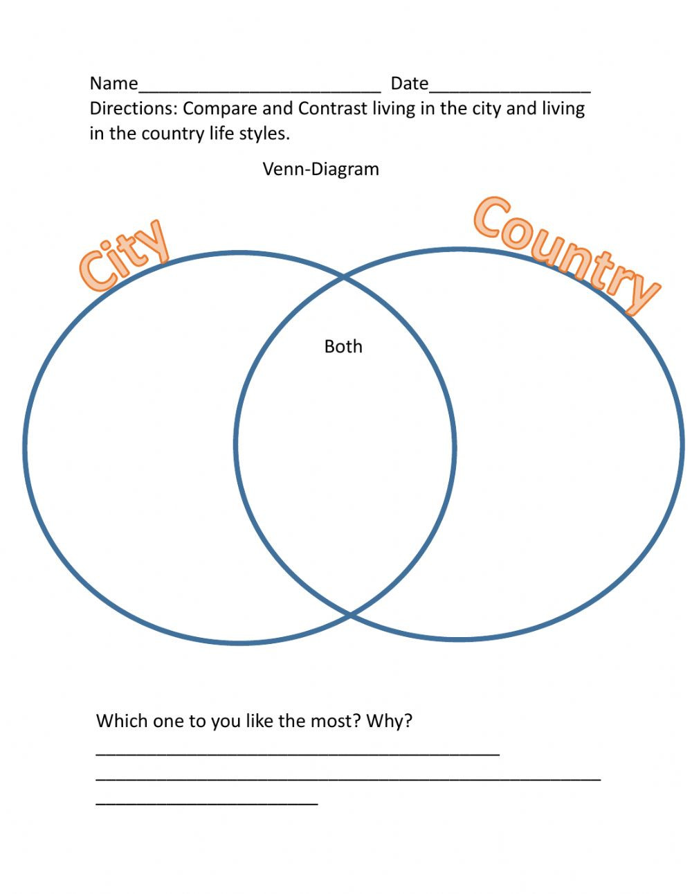 Compare and Contrast Reading Worksheets Pare and Contrast City Vs Country Interactive Worksheet