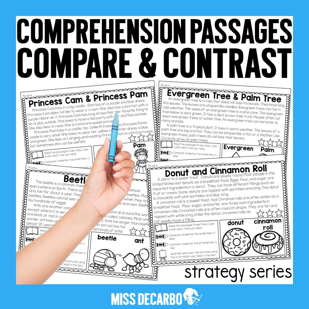 Compare and Contrast Reading Worksheets Pare and Contrast Freebie Miss Decarbo