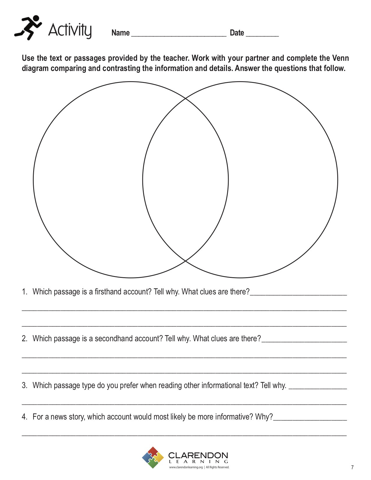 Compare and Contrast Reading Worksheets Pare and Contrast Nonfiction Lesson Plan