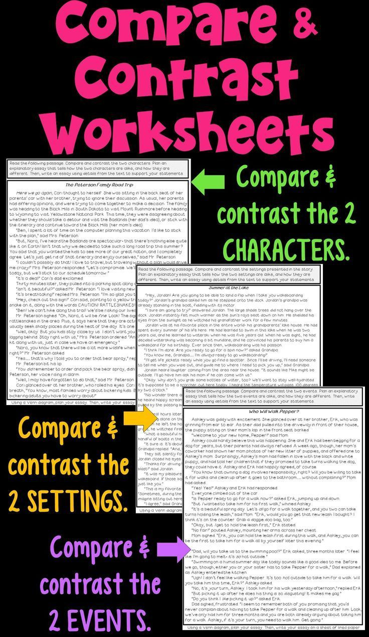 Compare and Contrast Reading Worksheets Pare and Contrast Worksheets Pdf and Digital