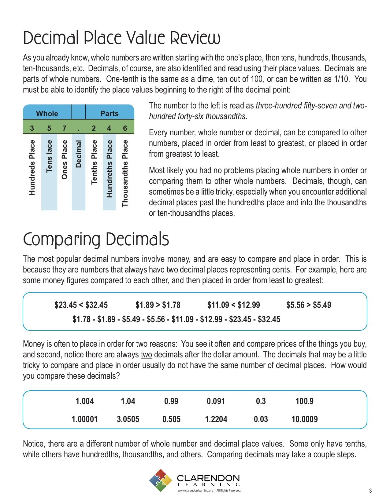 Comparing Decimals Worksheet 5th Grade Paring Decimals