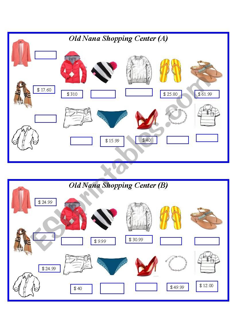 Comparing Functions Worksheet 8th Grade asking and Paring Clothing Esl Worksheet by J729