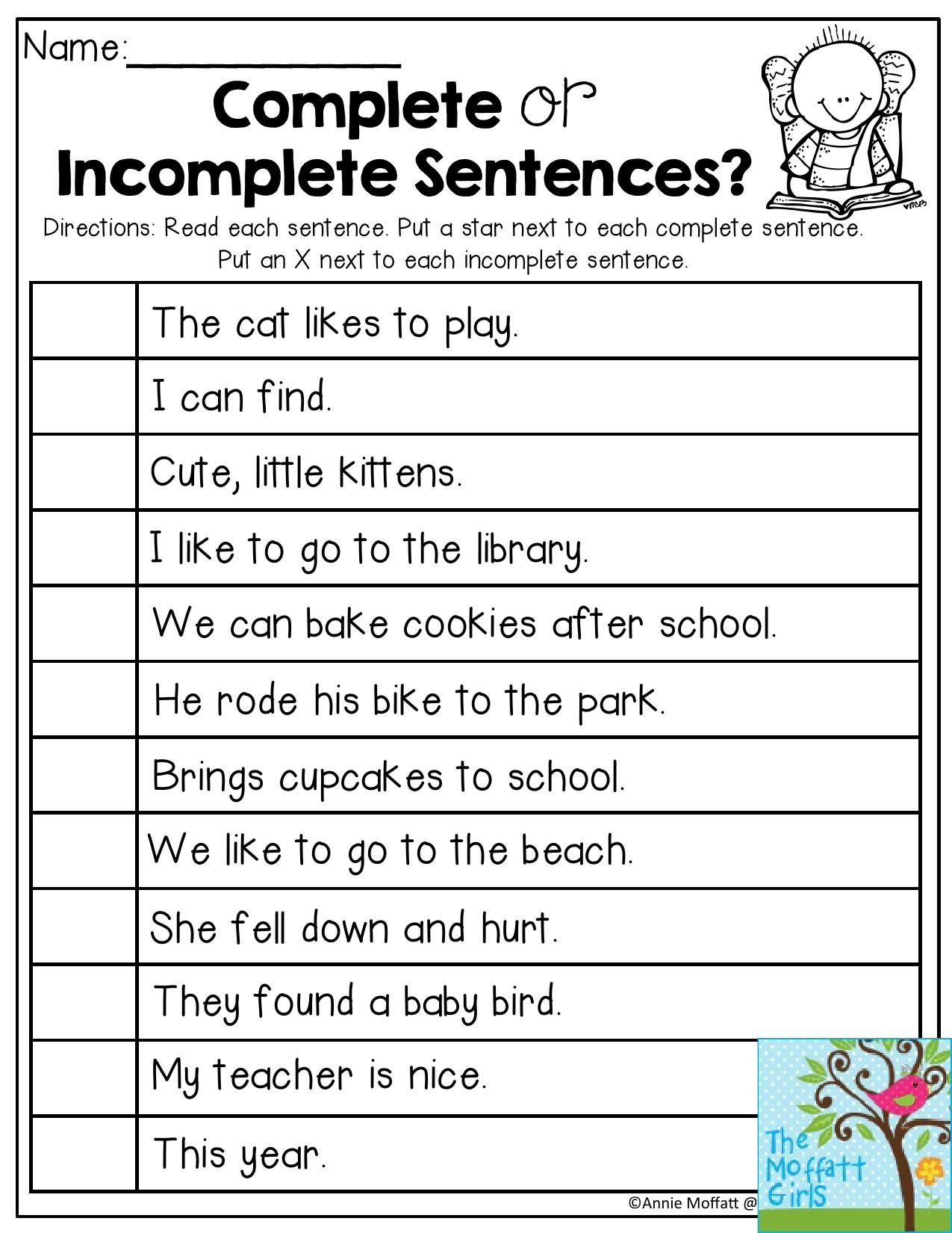 Complete Sentence Worksheets 1st Grade Plete or In Plete Sentences Read Each Sentence and