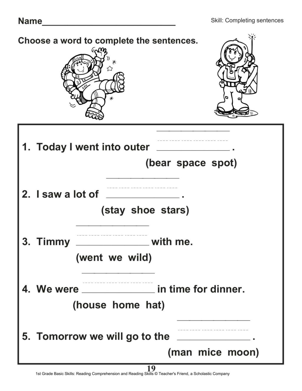 Complete Sentence Worksheets 1st Grade Worksheet Reading Prehension 1st Grade Printable