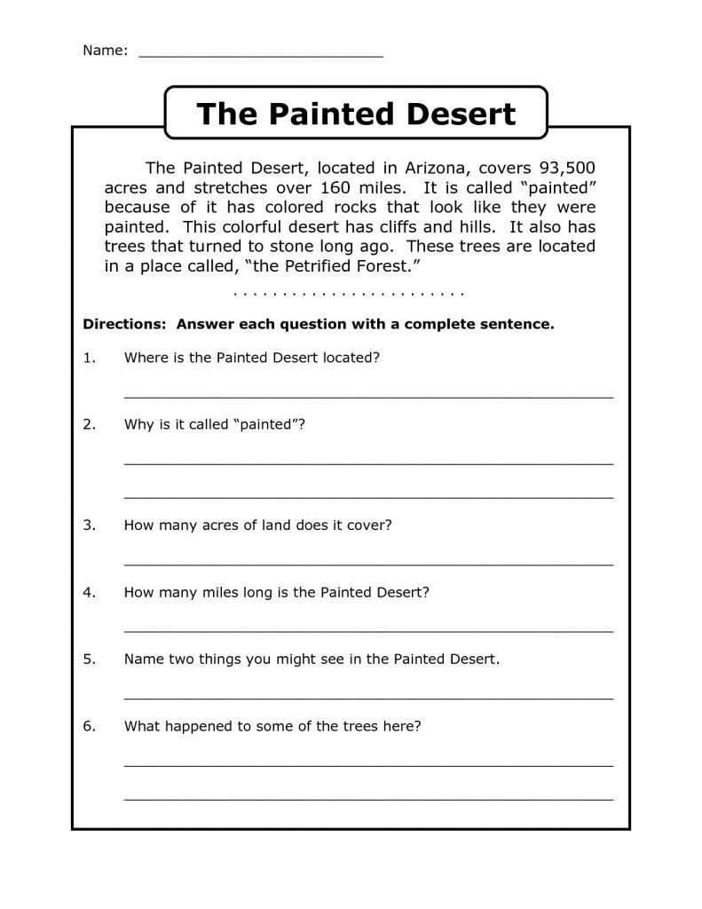 Complete Sentences Worksheets 3rd Grade Worksheet Worksheet Ideas Splendi Free Third Grade Reading