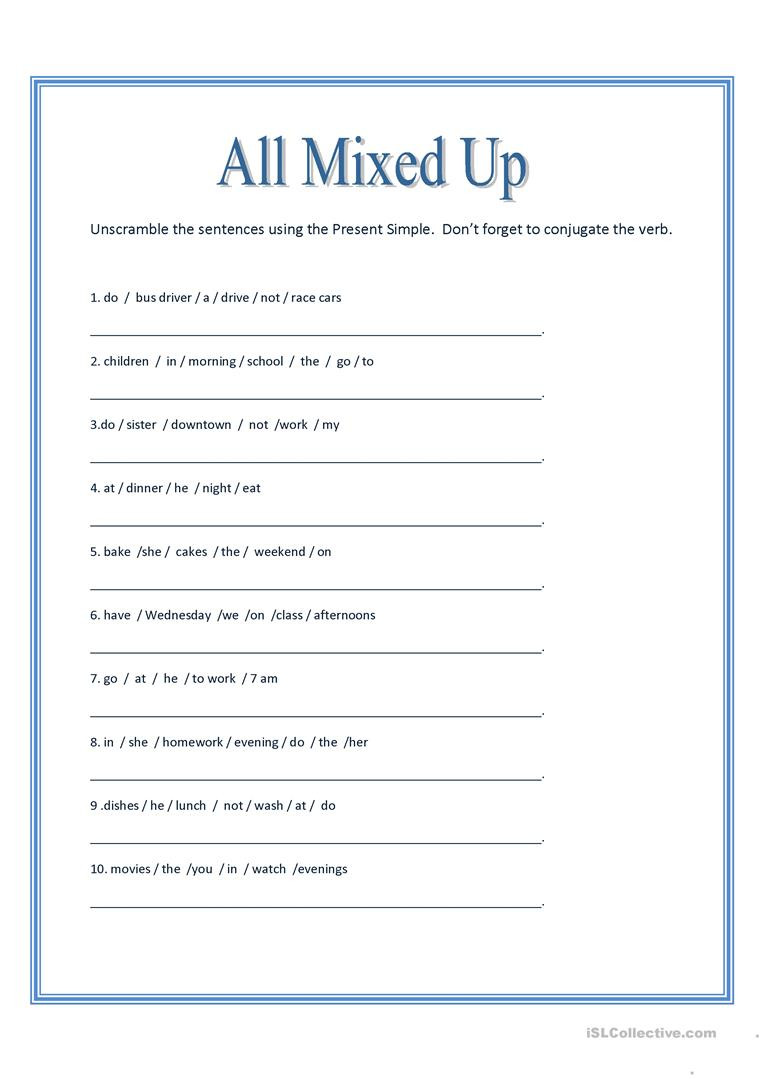 Complex Sentence Worksheets 3rd Grade English Esl Unscramble Worksheets Most Ed 52 Results