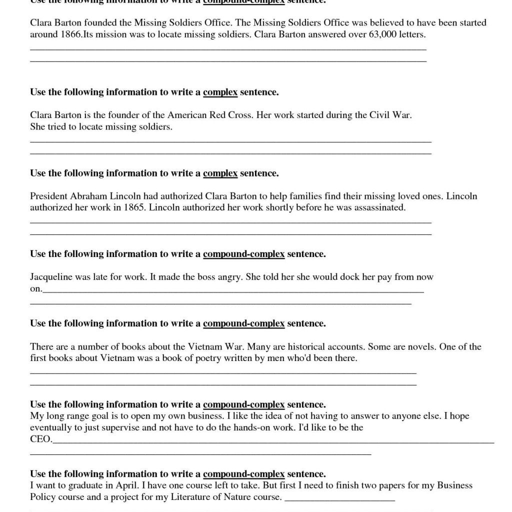 Complex Sentence Worksheets 3rd Grade Math Worksheet Third Gradeg Prehension Worksheets