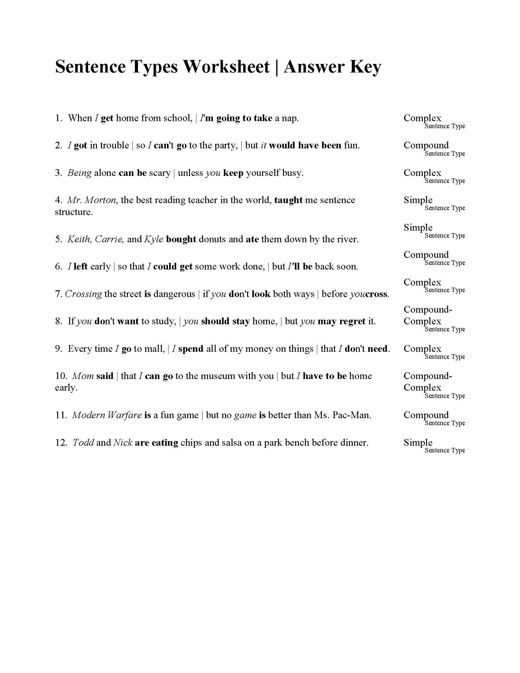 Complex Sentence Worksheets 3rd Grade Sentences Types Worksheet Answers Sentence Exercises