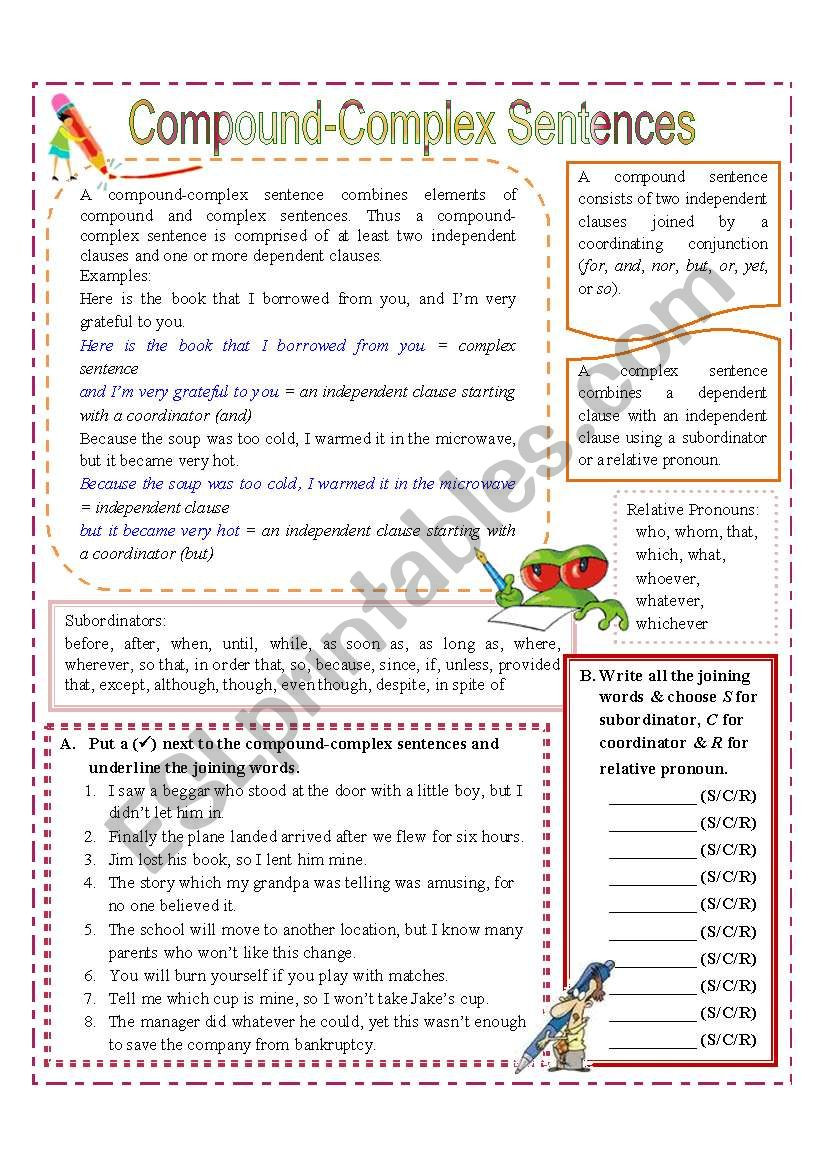 Complex Sentence Worksheets 4th Grade 32 Pound Plex Sentences Worksheet with Answer Key