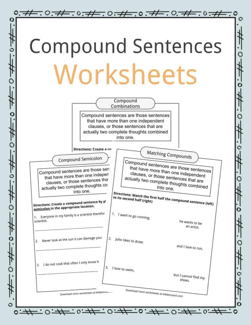 Complex Sentence Worksheets 4th Grade Pound Sentences Worksheets Examples & Definition for Kids