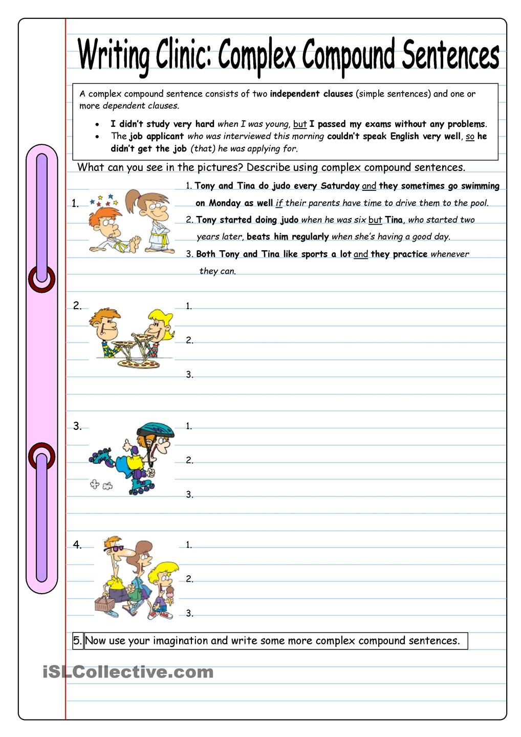Complex Sentence Worksheets 4th Grade Writing Clinic Plex Pound Sentences