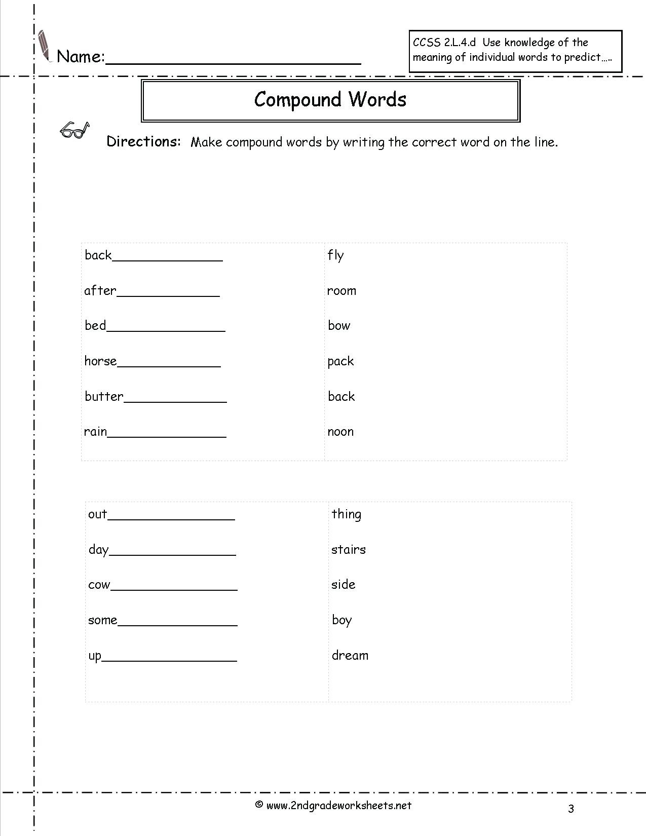Compound Words Worksheets 1st Grade Pound Words Worksheets First Grade